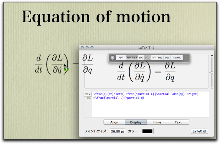 Import equations into Keynote